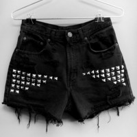 Black High Waisted jean shorts with silver rhinestuds