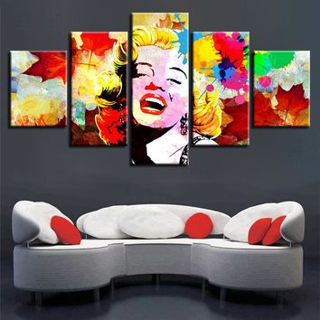 5 Pieces Famous Actress Movie Marilyn Monroe Color Abstract Canvas Panel Art