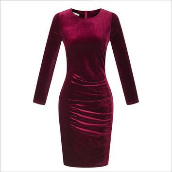 Vestido De Festa 2018 Summer Dress Long Sleeve Dress Vestidos Club Party Dresses Velvet Female Vintage Dresses 50s 60s