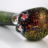 Stardust - Solid Black Full Dichroic Rainbow Galaxy Glass Pipe - Large Heady Glass Spoon Outer Space Smoking Bowl with Encased Star Marbles