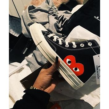 Converse x PLAY co-branded love high-top canvas shoes