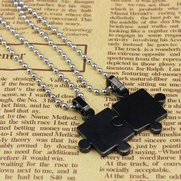 Mens Women Couple Stainless Steel Puzzle Pendant Necklace Lovers' Pendant Perfect 1pair INY66