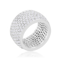 Cherish Wide Pave Cluster Silver Eternity Cocktail Ring | 13ct | Cubic Zirconia