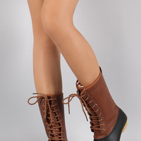Round Toe Lace Up Duck Mid Calf Boots
