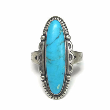 Vintage Sterling Turquoise Ring Bell Trading Size 7.5