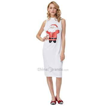 Sweet Print Sleeveless Ladies Stand Collar Knitted Dress