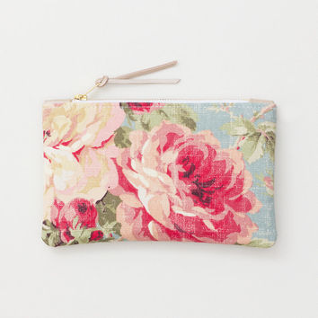 Floral Fabric and Taupe Leather Zipper Clutch, Zipper Pouch, Zipper Wallet, Cosmetic Pouch, Everyday Clutch, Wedding Clutch