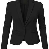 Womens Classic Fit Long Sleeve Blazer Jacket with Stretch