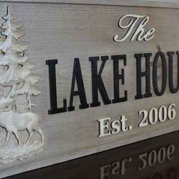 Personalized Christmas gift Carved Cabin Sign by michaelswoodworks