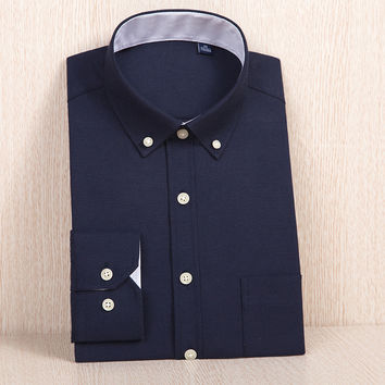 Men's Slim-fit Solid Color Oxford Dress Shirt with Left Chest Pocket Plus Size Navy-blue Work Casual Button-down Shirts