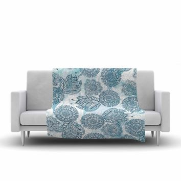 "Julia Grifol ""Garden In Blue"" Blue Floral Vector Fleece Throw Blanket"