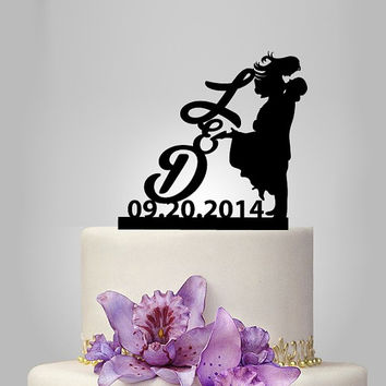 personalize wedding cake topper silhouette, monogram wedding cake topper, Mr Mrs cake topper, custom letters, funny cake topper