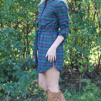 Plaid Flannel Dress - Green