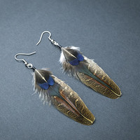 Brown feather earrings: dangle earring, natural feather earring Minimalistic earring, boho earring, boho chic, hippie earring, light earring