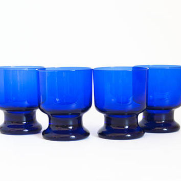Vintage Cobalt Blue Glass Tumblers Juice Glasses, Medium Size Stackable Heavy Weight Footed Tumblers, (SET of 4)