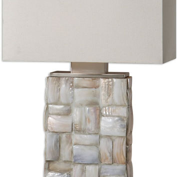 """0-020541>26""""h Calaveras 2-Light Table Lamp Mother of Pearl / Brushed Aluminum"""