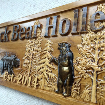 Personalized Wood Sign Custom Carved Cabin Gift Man Cave Wedding Family Last Name Established Camp Lake House Décor Woods Black Bear Plaque