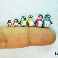 Penguin Family  Micro Crochet Miniature Penguins  Set of by SuAmi