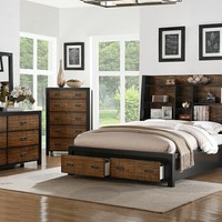 5 pc patricia ii collection two tone bamboo and dark wood finish with storage headboard queen bedroom set