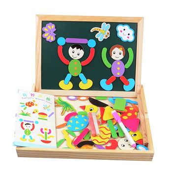 3D Puzzle Toy Colorful Magnetic Puzzle For Kid Chrismas Gift Educational Drawing Writing Board Magnetic Puzzle Double Easel Toy