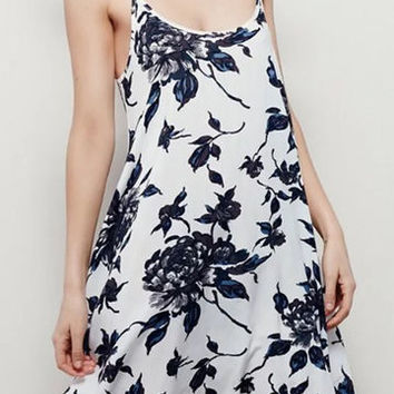 White Floral Print Spaghetti Strap Cami Dress