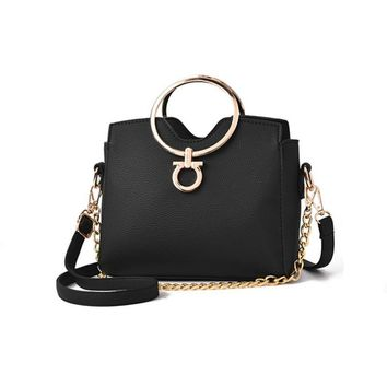 Casual chains metal handle small handbags purse evening clutch messenger shoulder bags