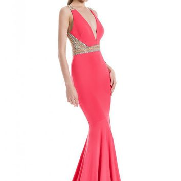 Terani Couture - 1611P0255A Bejeweled Plunging Neck Trumpet Gown