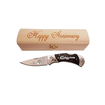 Men's Anniversary Gift | Personalized Pocket Knife and Gift Box | Bear or Deer Knife