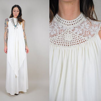 70's ivory Crochet lace maxi dress