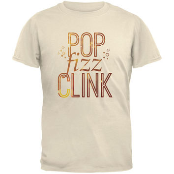 New Years Pop Fizz Clink Natural Adult T-Shirt