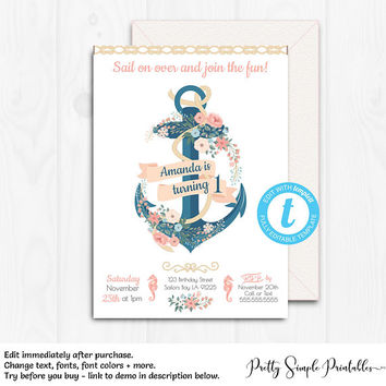 Nautical Birthday Invite, Girl, Anchor Birthday Invitation, Nautical Birthday Party, Template, Nautical Invitation, Templett, Printable NA01