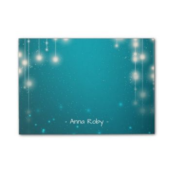 Chic String Lights Turquoise Blue Glitter Sparkle Post-it® Notes