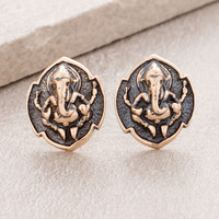 Bronze Ganesh Medallion Earrings