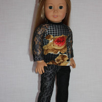 18 inch doll clothes, floral print shirt with lace sleeves, black lace covered denim skinny jeans, upbeat petites