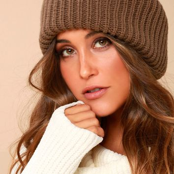 Near and Dear Taupe Knit Beanie
