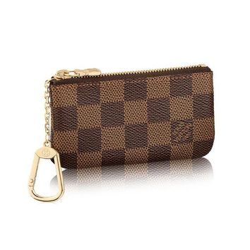 ONETOW Louis Vuitton Damier Canvas Key Pouch Key Ring N62658 Made in France