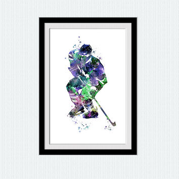 Hockey watercolor print Hockey poster Hockey player print Sport poster Home decoration Kids room wall art Hockey decor Christmas gift W384