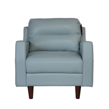 Isabel Full Leather Mid-Century Chair Bluette