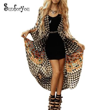 Beach Cover up tunics for beach Print Chiffon Long  Kaftan Bikini Cover up Robe de Plage Sarong Beach Wrap Swimsuit cover Up