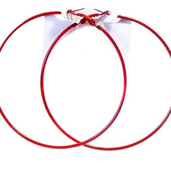 Red Hoop Earrings Thin Hoop Earrings Red Hoops 3 Inch