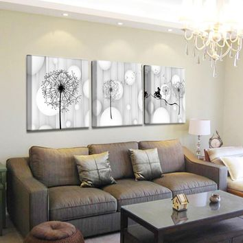 Dandelion Wall Art Print Canvas Painting Poster Vintage Black White Wall Picture For Living Room Decoration T106