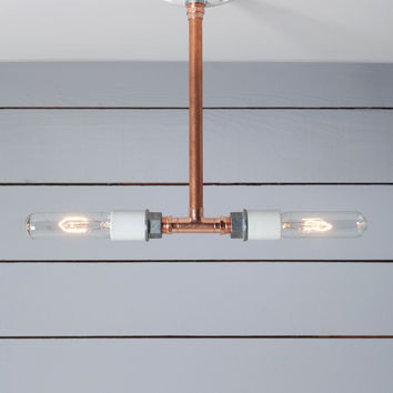 Pendant Copper Pipe Light - Double Bare Bulb Lamp