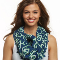 Navy and green infinity soft scarf, infinity scarf, infinity ring scarf, navy and green scarf, soft scarf