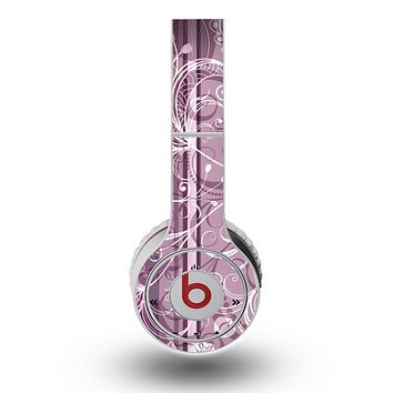 The Purple and Gray Stripes with Overlapping Floral Skin for the Original Beats by Dre Wireless Headphones