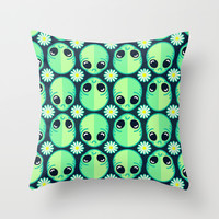 Sad Alien and Daisy Nineties Grunge Pattern Throw Pillow by Chobopop