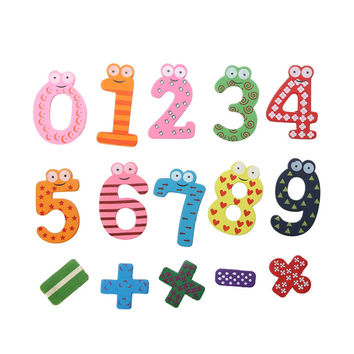 15pcs Wooden Numbers Block Math Toy Magnet Fridge Sticker Baby Educative Math Toys Use on Refrigerator/Message Board