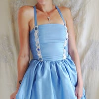 Alice's Blue Dress Halloween Costume... size Small... in wonderland whimsical story book alternative fairy tale baby doll fancy dress party
