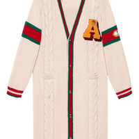 Gucci Embroidered Chunky Cable Knit Cardigan - Farfetch