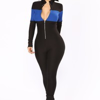 Under Construction Lounge Jumpsuit - Black/Royal