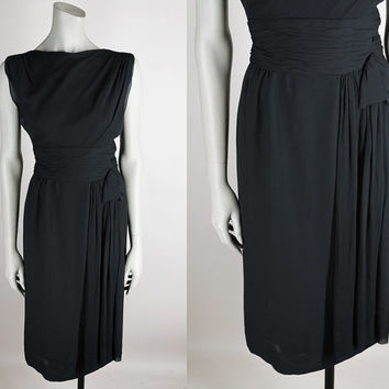Vintage 50s Dress / 1950s Black Silk Chiffon Minimalist Draped Dress S